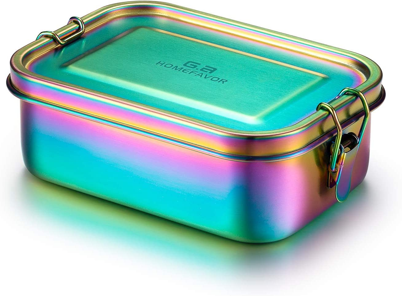 G.a HOMEFAVOR 800ml Stainless Steel Rainbow Lunch Box Bento Box - Eco-Friendly Insulated Snack Storage - Leakproof & Dishwasher Safe Metal Food Containers - Gifts for Kids Womens