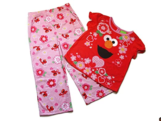 376bd62e44 Image Unavailable. Image not available for. Color  Toddler Girl s 4T Pink  ELMO Flowers and Hearts Pajama Set