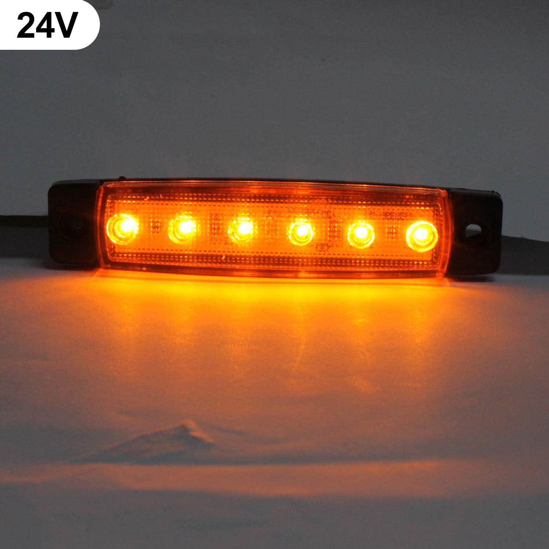 10Pcs Feux de Gabarit Lat/éraux LED,24V Feux Lat/éraux Eclairage LED Arri/ère Avant Indicateur de Position en Lumi/ère Imperm/éable pour Camion Remorque Camion Bus Bateau,Ambre
