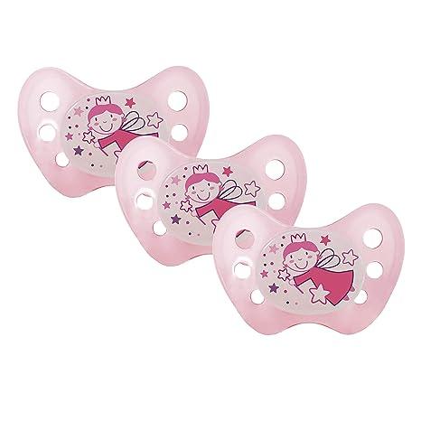 Dentistar® – Chupete de silicona nocturno para bebés de más de 14 meses (tamaño 3) rosa Fee Rosa Gr. 3 Talla:3