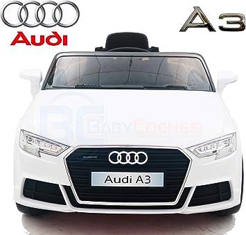 BC Babycoches Compatible con Audi A3 Coche eléctrico niños Coches con Mando 2.4Ghz Coches de batería 12v Coche con Equipo de Audio, USB, SD,