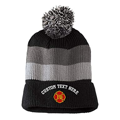 Custom Text Embroidered Fd Fire Department Unisex Adult Acrylic Vintage  Striped Removable Pom Pom Beanie Skully 9ec69d417c9