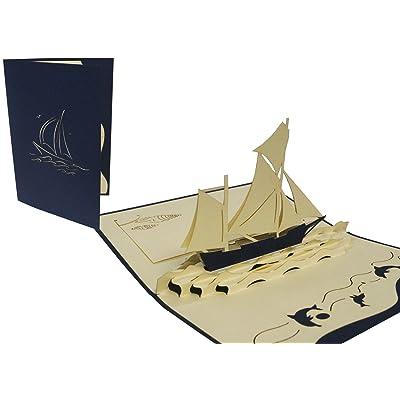 POP uP 3D architecture transport carte de vœux motif voilier reisegutschein cartes à collectionner