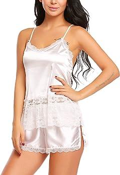 31d6ba845797 Women Sexy Pajama Set Satin Camisole Short Set Lace Sleepwear Beige Small