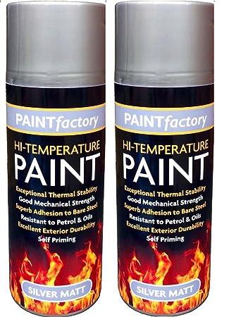 2 x Rapide 400 ml spray de pintura mate de alta temperatura resistente al calor plata estufa horno de escape chimeneas industriales hornos pinturas: ...