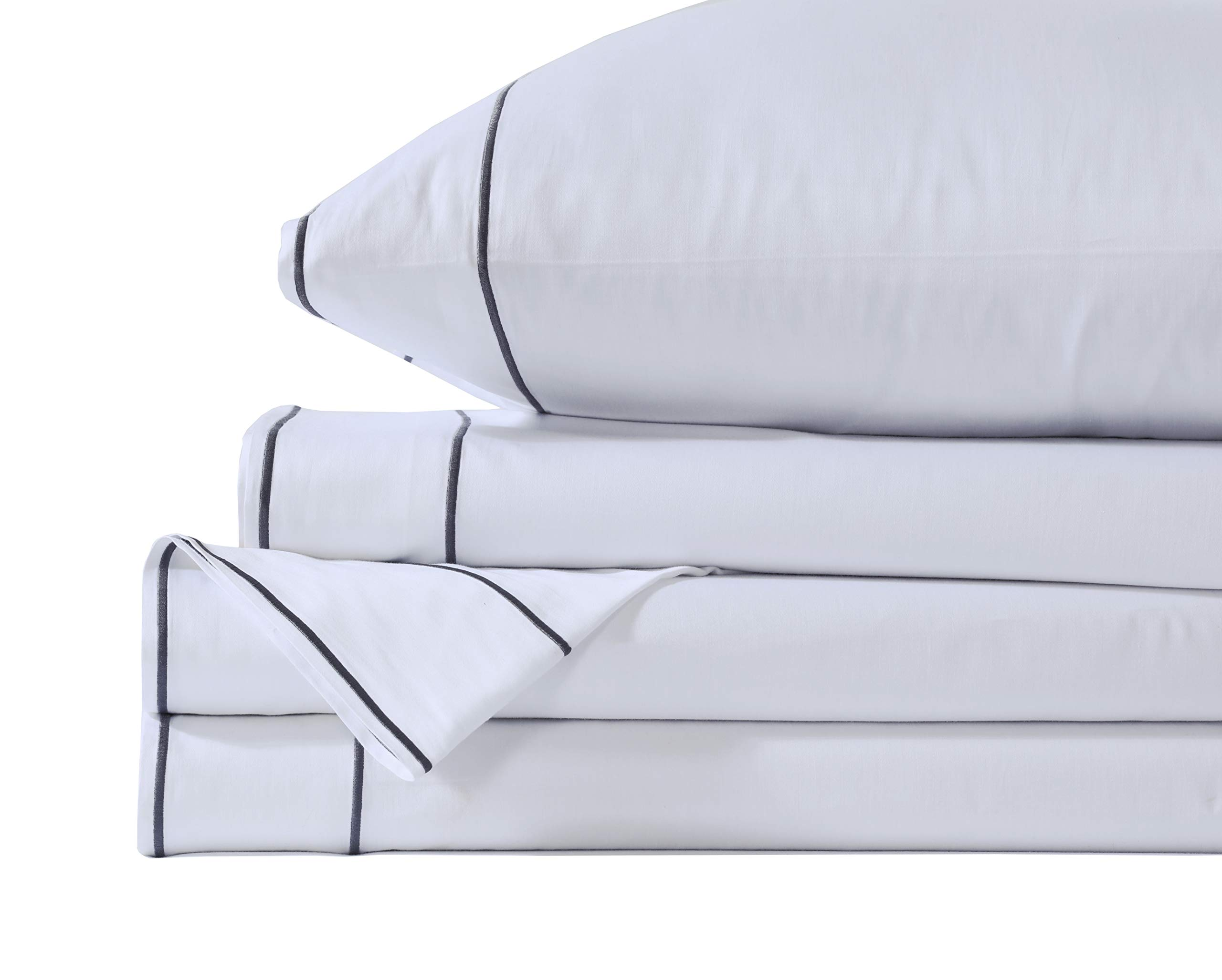Lasimonne 400 Thread Count Cotton Sheet Sets, 100% Pure Combed Cotton Stylish Hotel Stitch Sheets, French Embroidery, Luxury Sateen Weave for Soft and Silky Feel (White with Grey Stitch, Queen)