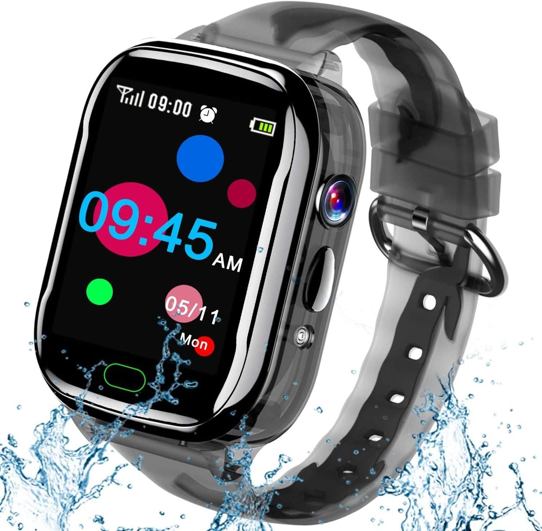 iGeeKid Kids Smart Watch Phone-IP67 Waterproof Smartwatch Boys Girls Toddler Digital Wrist Watch 1.44'' IPS Touch,Calls,Camera Gizmos Games,12/24 Hr Stopwatch Calculator Alarm Learning Toys (Black)