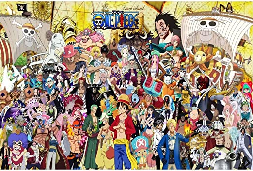 Puzzle House- ⏰PT Animación Japonesa Cartel de Rompecabezas de Madera, Comic One Piece Pintura Corte y Ajuste 1000pc Juego de Juguetes en Caja para Adultos y niños 504 (Color : D): Amazon.es: