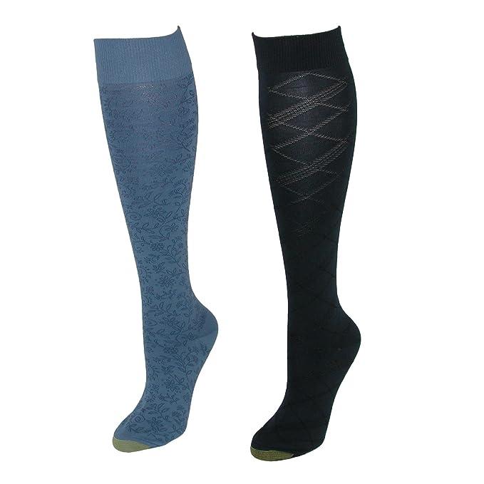 Gold Toe - Calcetines hasta la rodilla - Étnica - para mujer Azul Blue Navy Talla