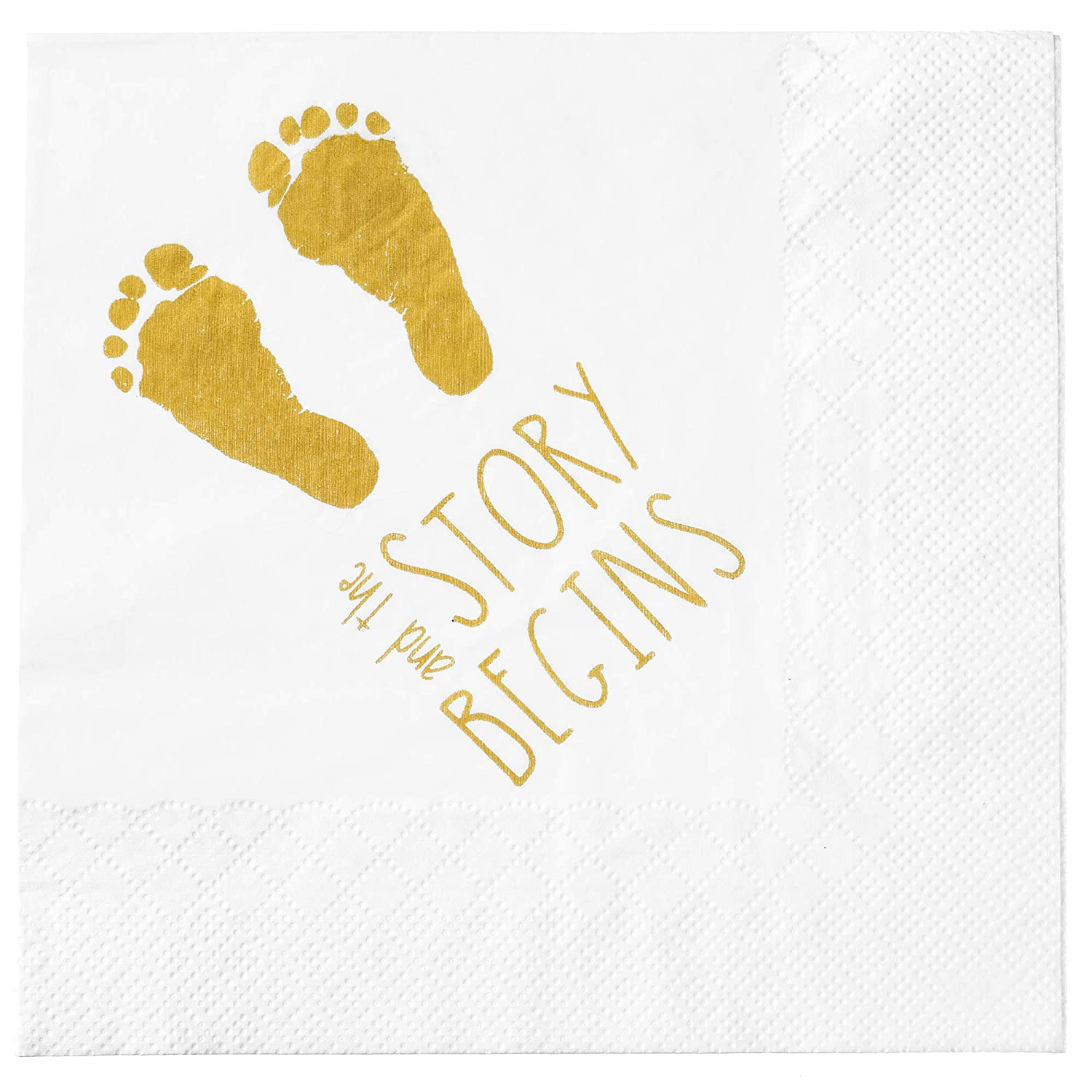 "Baby Shower Napkins -""and The Story Begins"" 100 Quality Pieces - Gender Reveal Gold Napkins - Boy and Girl Baby Shower Decorations Large 6.5 x 6.5 Inch Folded"