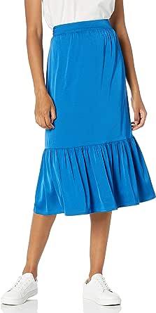 Marca Amazon - Jerry - Falda de Cintura Elástica Con Dobladillo Ancho - skirts Mujer por The Drop