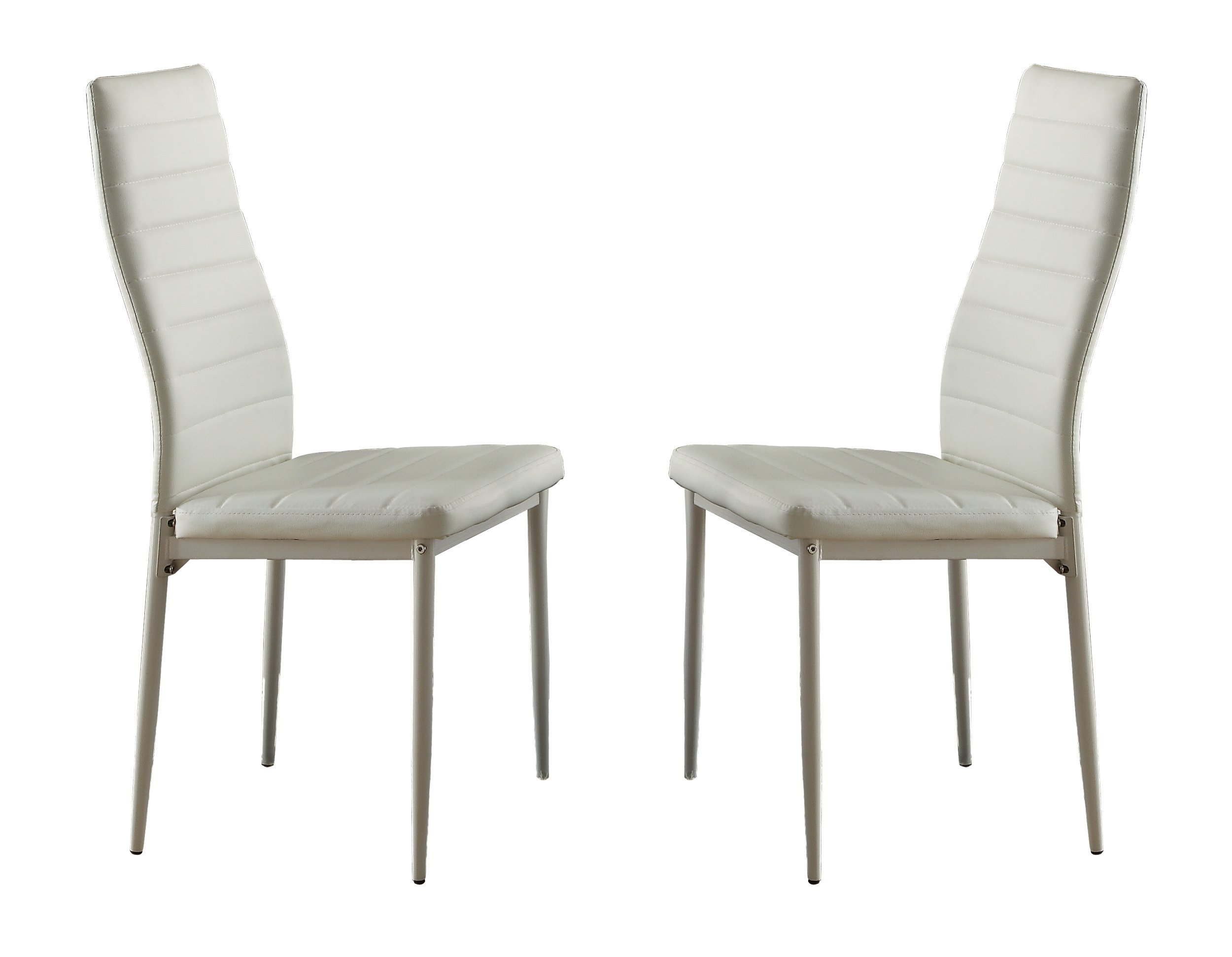 Homelegance Florian Metal Dining Chairs with Bi-Cast Vinyl Back and Seat Cover (Set of 2), White