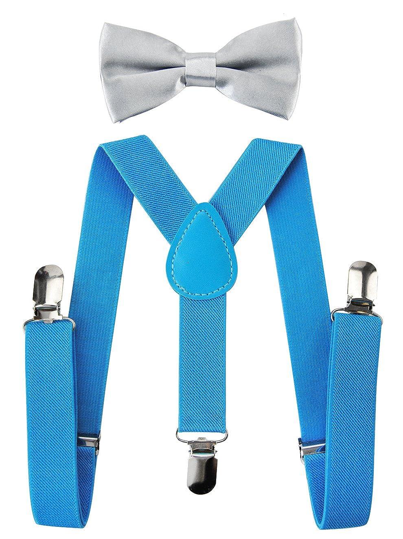 3 Clips EXTRA STARK axy Kinder K/önigsblaue Hosentr/äger-Y Form mit Fliege