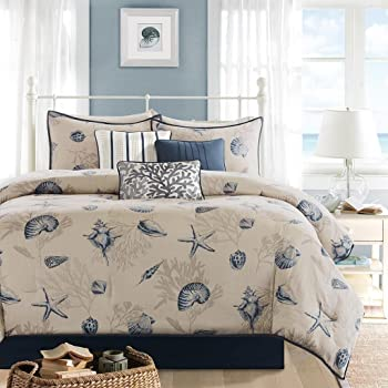 Amazon Com 7pc Ivory Blue Ocean Themed King Comforter Set