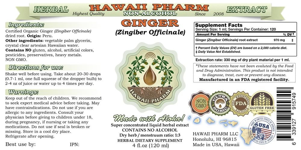 Ginger Alcohol-FREE Liquid Extract, Organic Ginger (Zingiber officinale) Dried Root Glycerite 2x4 oz by HawaiiPharm (Image #2)