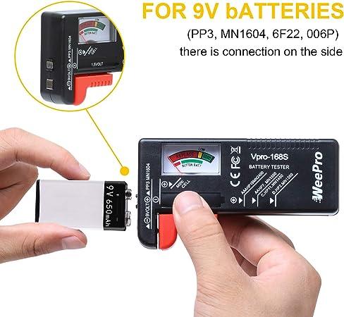 comprobador AA AAA C//D 9 V Comprobador de bater/ías indicador para pila de bater/ía probador para pilas cl/ásico bot/ón Checker ideal para uso dom/éstico