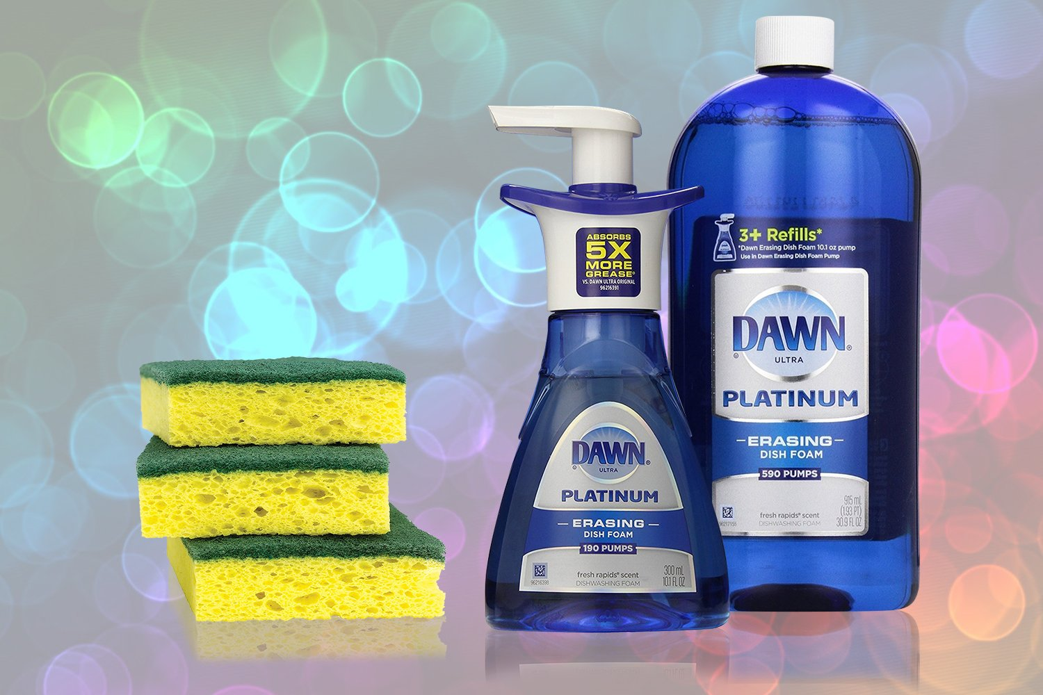 Dawn Platinum Erasing Dish Foam Bundle, 1 Refill and Pump With Scotch Brite Heavy Duty 3 Pack of Scrub Sponges, Fresh Rapids Scent, 30.9 Fluid Ounce