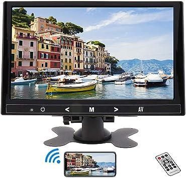 Monitor de 9 Pulgadas, Mini Portátil Seguridad Monitor 1024 * 600 HDMI LCD Pantalla HDMI/VGA/AV con Altavoz & Remote Control para PC CCTV DVD DVR Cámara de visión Trasera Cámara de Seguridad: