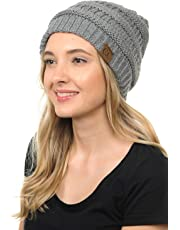 BYSUMMER Soft Cable Knit Warm Fuzzy Lined Slouchy Beanie Winter Hat 270c43ff9f5