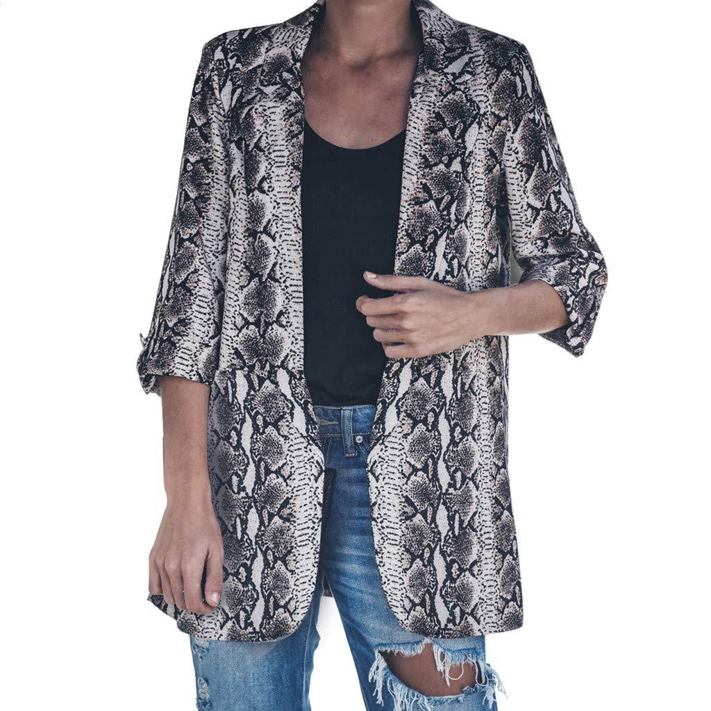 YUEZIHUAHUA Women Coats Womens Jackets Snake Print Business Turn Down Suit Long Sleeve Coat Turn-Down Collar Outerwear (L, Gray)