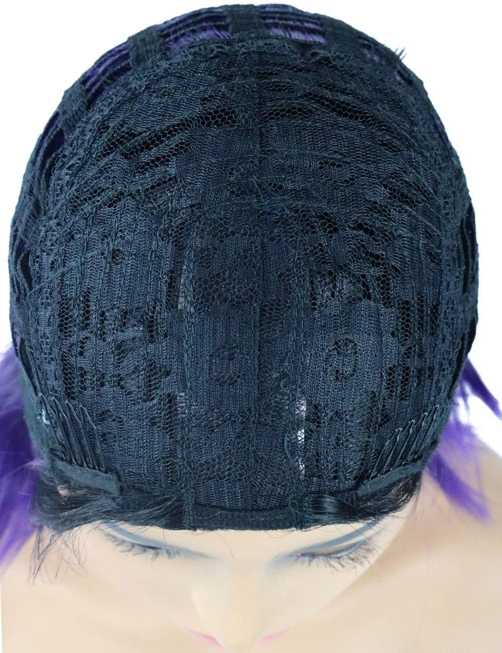 "58de8d0836be1 Amazon.com  TopWigy Ombre Purple Synthetic Women Wig Straight Bob Style  Shoulder Length Middle Part Dark Root Female Wigs (Purple 14"")  Beauty"