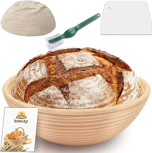 Brotform Baking Dough Bowl Professional Home Artisan Bakers Bread Banneton Proofing Basket Dough Rising Rattan Handmade Bowl for Sourdough Bread Proving Baskets with Linen Cloth Liner Scraper
