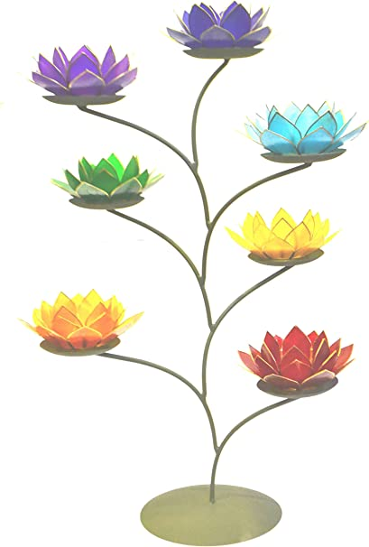 Superbe Grand Indigo 6/ème Chakra Fleur de Lotus Bougie Chauffe-Plat
