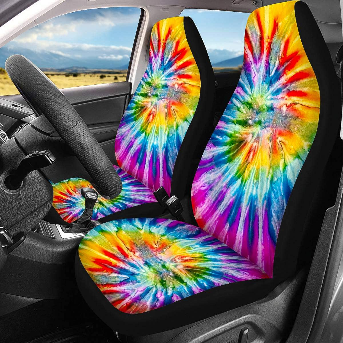 Horeset Car Seat Covers Full Set Front Seat Covers for Women Universal Vehicle Seat Protectors Fit Most of Cars Golden Sunflowers