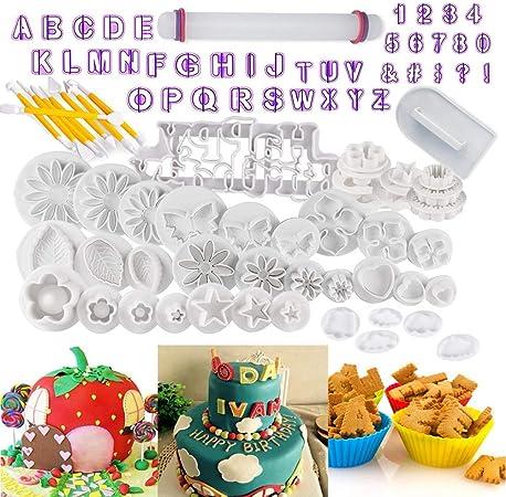 Utensili per decorazioni fai da te Set di 40 stampini con lettere e numeri per realizzare decorazioni per torte biscotti pasta di zucchero e fondente