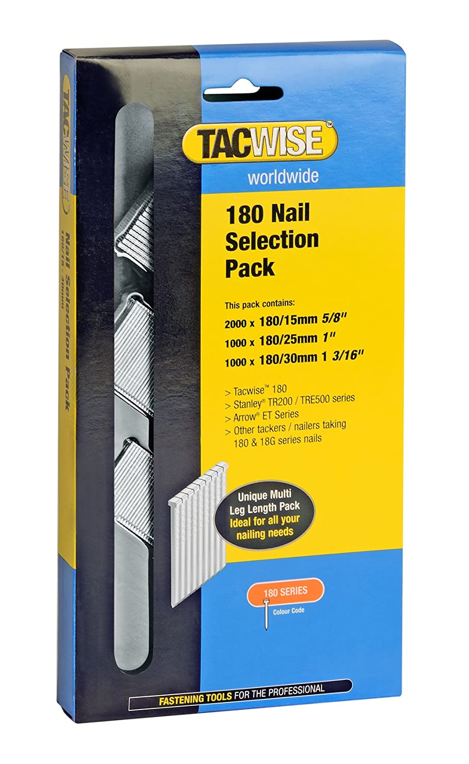 Tacwise 0205 18 Gauge Brad Selection with 5 8 Inch 1 Inch and 1 1 4 Inch Nails 4000 Pack 0205