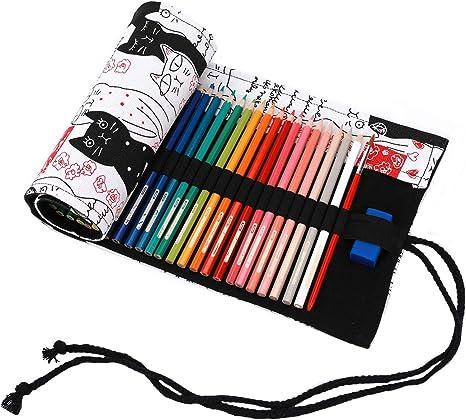 Abaría - Bolso para lápices, Grande Estuche Enrollable para 72 lapices Colores, portalápices de Lona, Bolsa Organizador lápices para Infantil Adulto, Gato Beige 72 (No Incluyendo los lápices): Amazon.es: Hogar