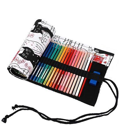 abaría - Bolso para lápices, Estuche Enrollable para 48 lapices Colores, portalápices de Lona, Bolsa Organizador lápices para Infantil Adulto, Gato ...