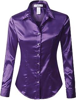 3d1d16fa044 RK RUBY KARAT Womens Satin Silk Work Button Down Blouse Shirt with Cuffs
