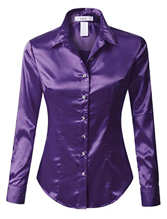 1fe7a5f9a04 RK RUBY KARAT Womens Plus Size Long Sleeve Satin Blouse with Cuffs at  Amazon Women s Clothing store
