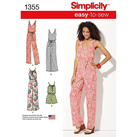 Simplicity 1355 Size A Misses Maxi Dress and Long or Short Jumpsuit ...