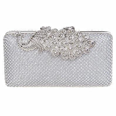 Amazon.com  Fawziya Crystal Peacock Clutch Purses For Women Evening Handbags  Silver  Shoes 74c0128461098