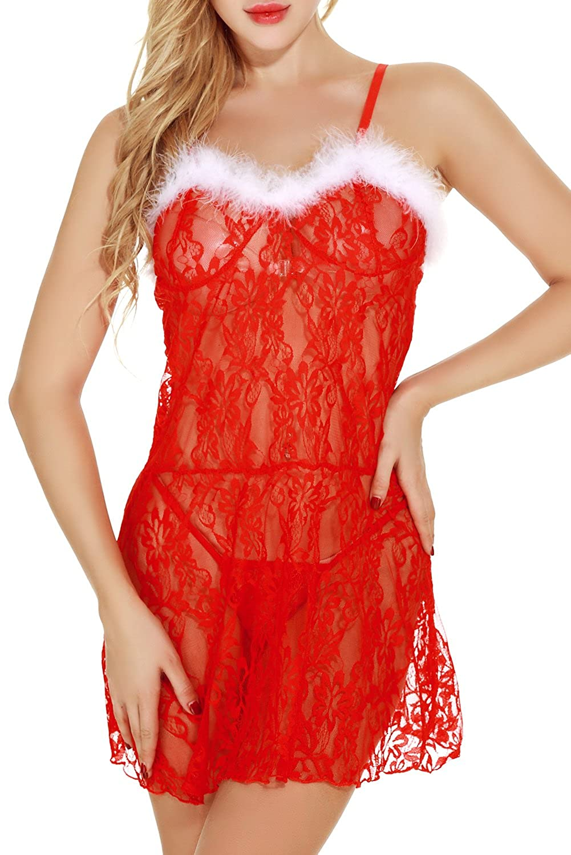 Papaya wear Uniarmoire Womens Babydoll Lingerie Dress Red Christmas Mrs Santa Chemise PW7-CH917