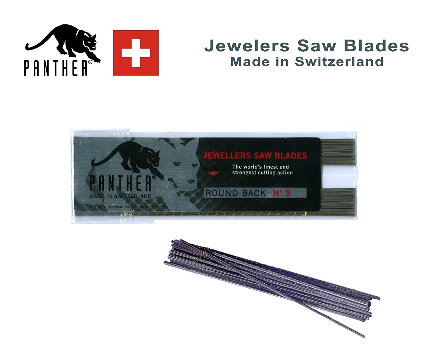 excellent quality MADE in SWITZERLAND Size #4 choose sz 8//0 thru 8 12 Pack PANTHER Jewelers Sawblades