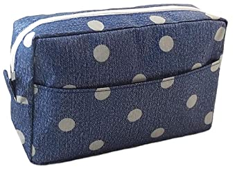 f0cd0011bcfd Amazon.com   Polka Dot Cosmetic Bag Toiletry Organizer Travel Makeup Bag  Zipper Accessories Pouch - Blue   Beauty