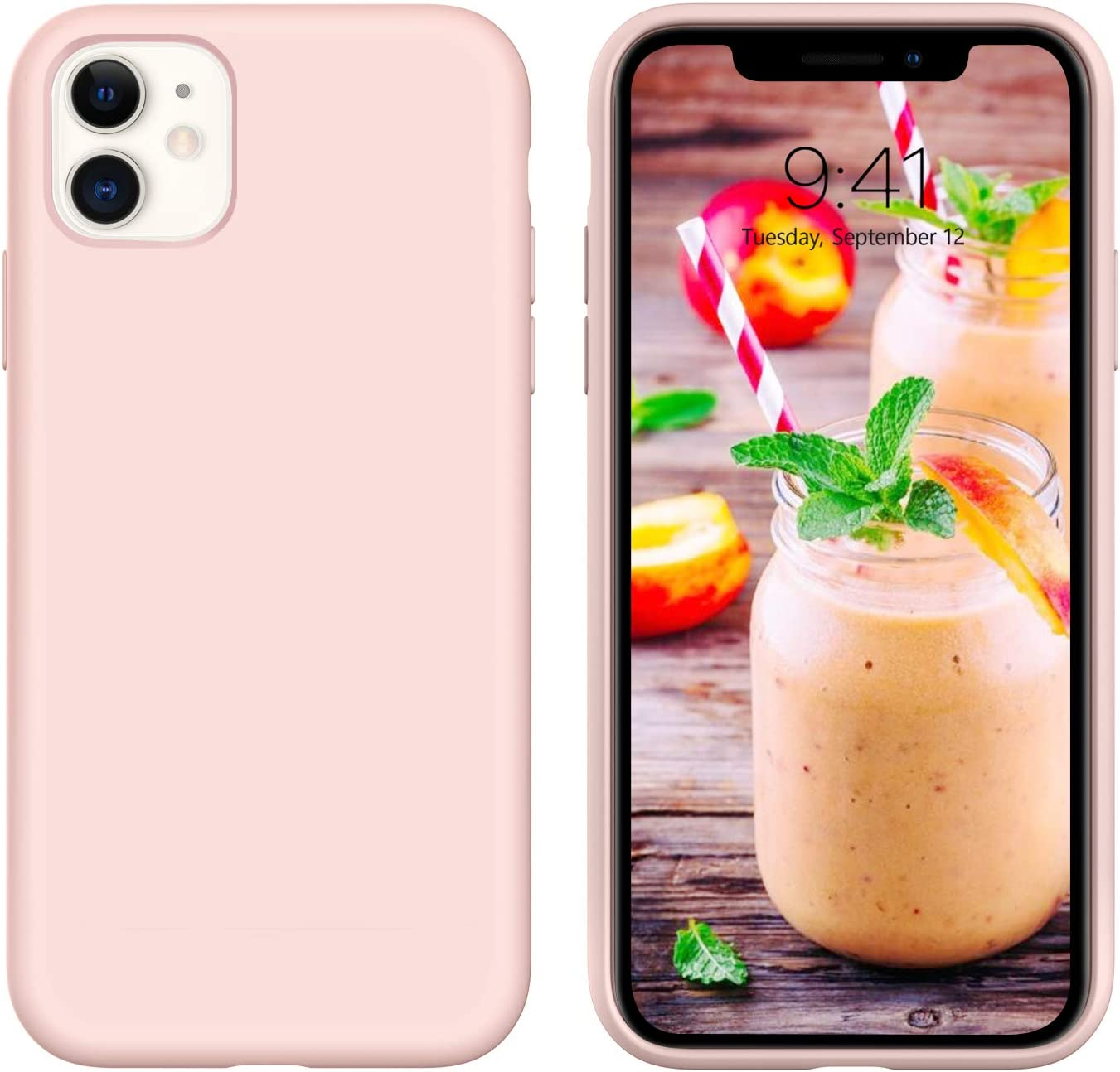 iPhone 11 Case 2019 GUAGUA Liquid Silicone Soft Gel Rubber Slim Lightweight Microfiber Lining Cushion Texture Cover Shockproof Protective Anti-Scratch Phone Cases for iPhone 11 6.1-inch 2019 Pink