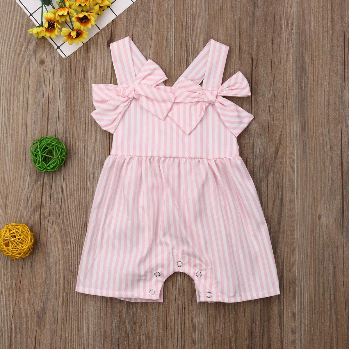 Baby Girls Sunflower Jumpsuit Rainbow Halter Backless One Piece Denim Jumpsuit with Pocket Lotus Colllar Jumpsuit