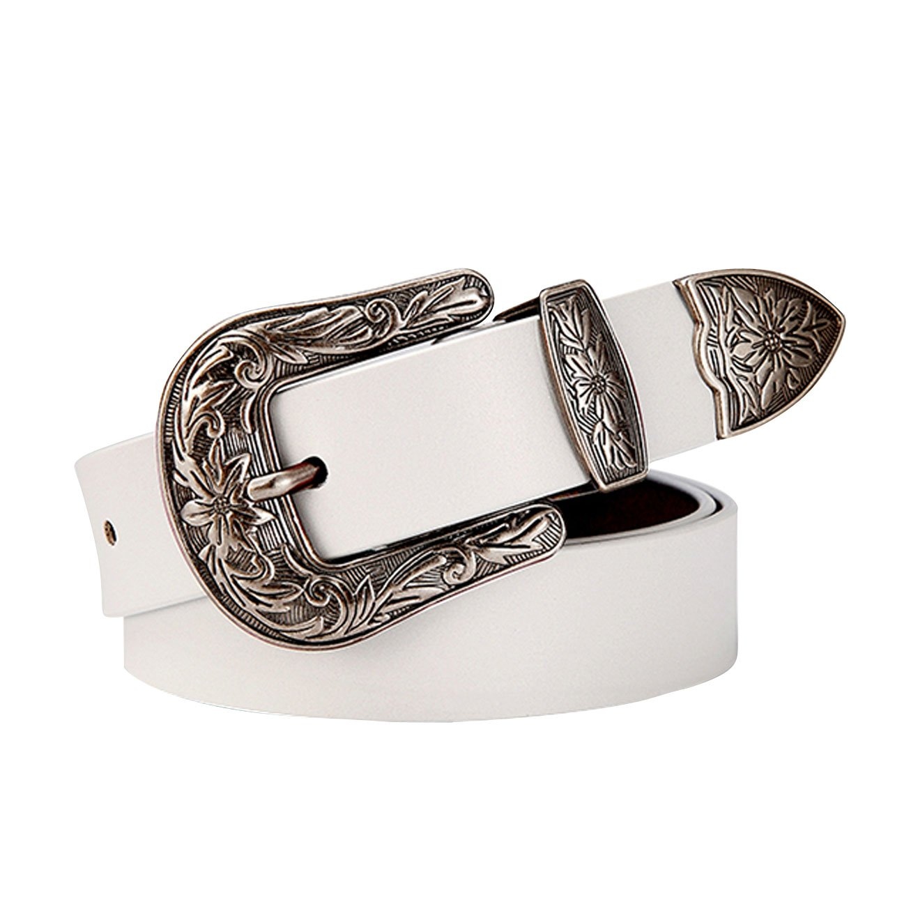 E-Clover Vintage Western Cowgirl Leather Belt Carved Buckle Dress Belt For S Size Women (White)