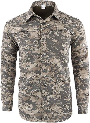 Militar Táctica Camuflaje Camisa para Hombre Al Aire Libre Casual Transpirable Ejercito Camo BDU Camisas de Combate Manga Larga para Trabajo Acampada Caza Paintball: Amazon.es: Ropa y accesorios