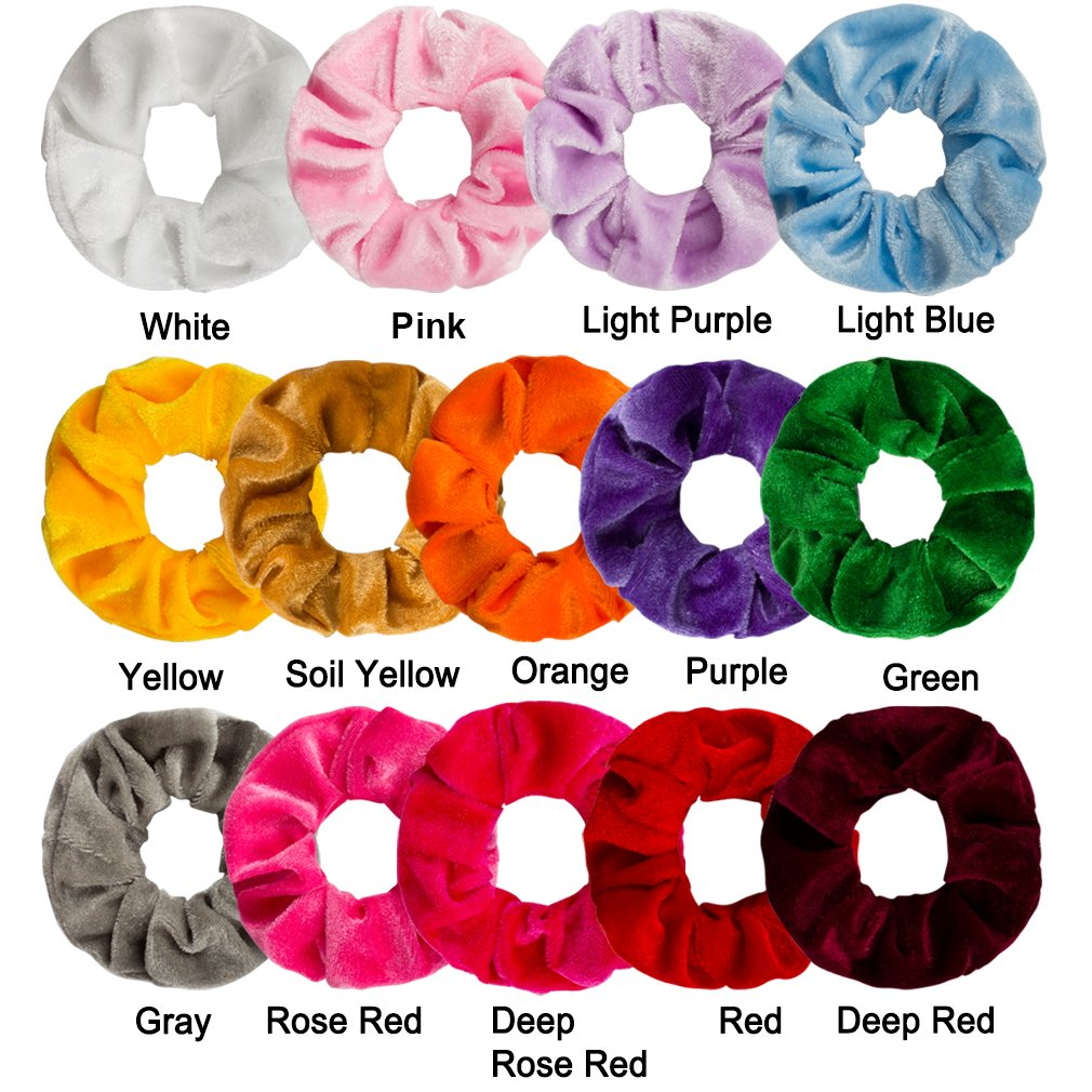 86a437cfab51 Amazon.com : Ondder 14 Pack Hair Scrunchy Velvet Scrunchies Hair Bobble  Elastics Hair Bands Headbands Women Scrunchies Bobbles Hair Ties, 14 Colors  : Beauty
