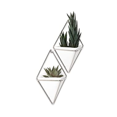 Umbra Trigg Hanging Vase & Geometric Wall Decor Container, White/Nickel, Set of 2 Planter