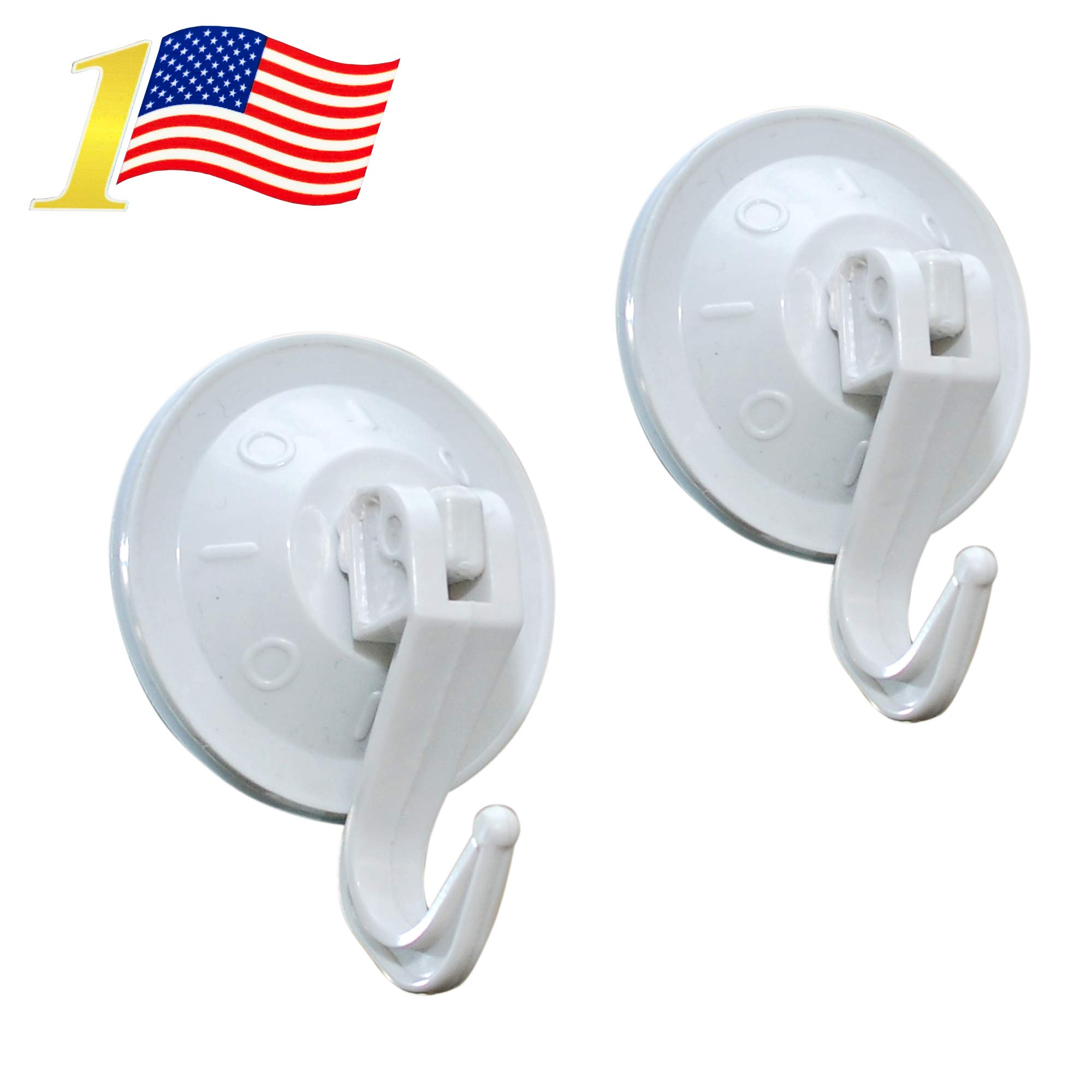 Super Powerful Vacuum Suction Hooks - Damage Free (No Drilling, No Screws, No Holes, No Glue) - Perfect for Hanging Your Bags, Cloths, Towels, Kitchen Tools, Bathroom Accessories (2-PACK) by HIMI Store