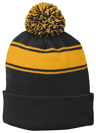 790c6e506b9 Sport-Tek Unisex-adult Stripe Pom Pom Beanie (STC28) -BLACK GOLD -OSFA at  Amazon Women s Clothing store