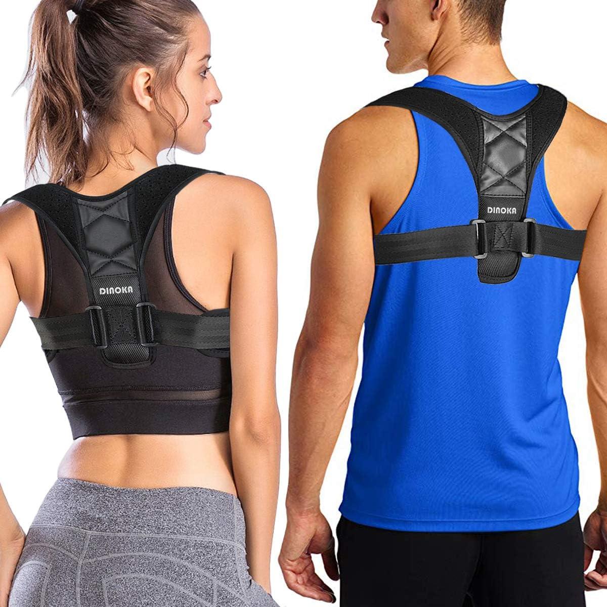 DINOKA Corrector de Postura de Mujeres Hombres Brace Ajustable Hombro Enderezar la Espalda Cómodo Respirable Respaldo Anchura Hombro Clavícula Apoyo Espalda (M(70-100CM))