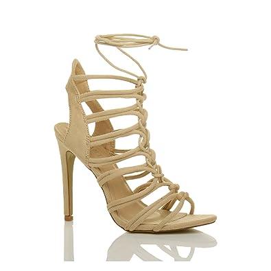 Damen Hoch Absatz Reimchen Ausgeschnitten Schnür-Pumps Sandalen Schuhe Größe 3 36 ISvQqMSj