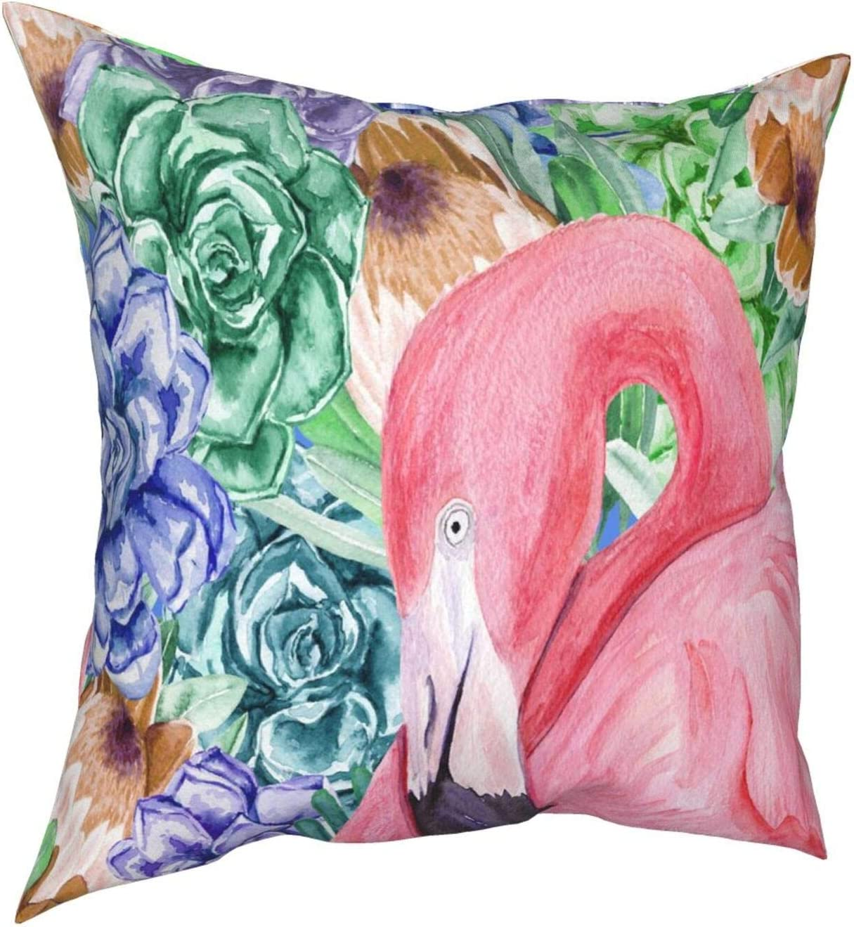 BEVRRY Throw Pillow Covers 20x20, Modern Decorative Throw Pillow Case Cushion Case for Room Bedroom Room Sofa Chair Car, Body Pillow Cover-Tropical Watercolor Flamingo